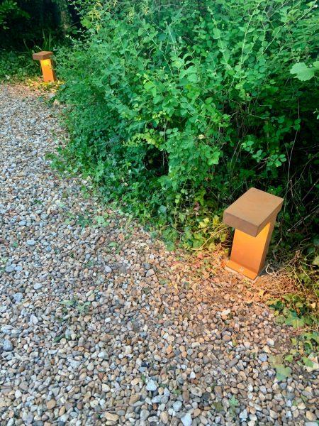 Rust finish low level driveway LED lighting, Faversham, Kent