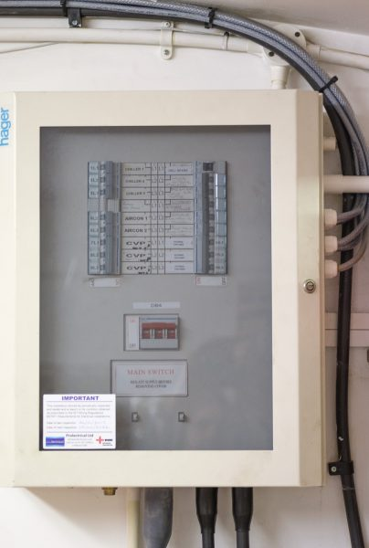 Mains electrical distribution board at Macknade Fine Foods, Faversham