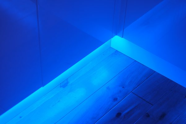Colour changing plinth lighting showing detail