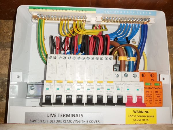 18th Edition Fuse board wired with cover off.