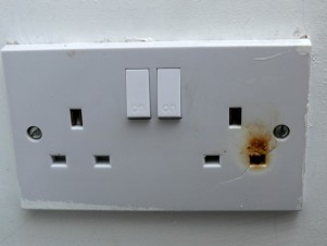 Burnt out socket. Arching connection, Fire damage, Whitstable, Kent