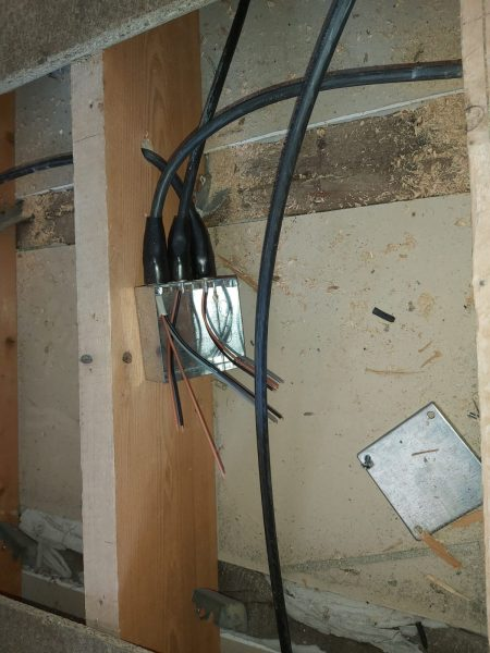 Unfinished wiring of junction box supplied by steel armoured cable, Rewire, Faversham, Kent