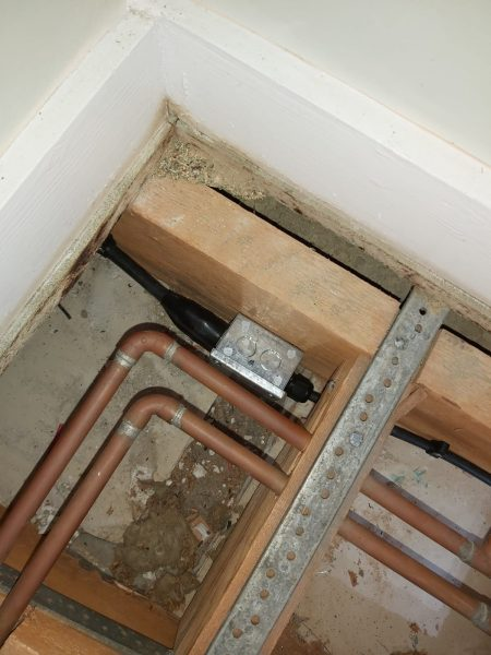 Rewire in steel armoured cable channelled through joists, Faversham, Kent