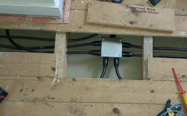 Multi-way Junction box supplied by steel armoured cable, Rewire, Faversham, Kent